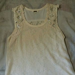 Miss Me cream with lace and rhinestones tank